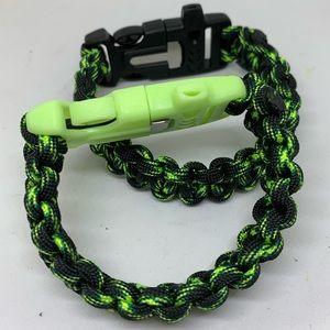 Lot of 2 Survival Paracord Bracelet w/ Firestarter